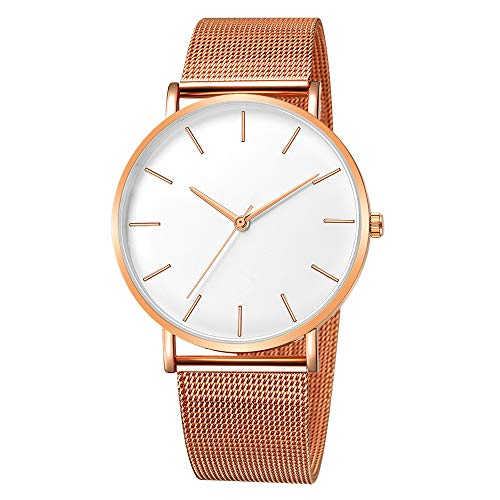 Mens Simple Watch Analog Quartz Stainless Steel Mesh Band Dial Casual Wrist Watches for Men (E-3)