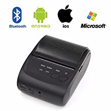 Boddenly Mini Portable Bluetooth4.0 Printer, 58mm Bluetooth Pocket Mobile Phone POS Thermal Receipt Printer Support IOS & Android System & Windows
