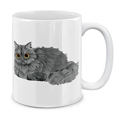 (MUGBREW Gray Persian Cat Ceramic Coffee Gift Mug Tea Cup, 11 OZ)