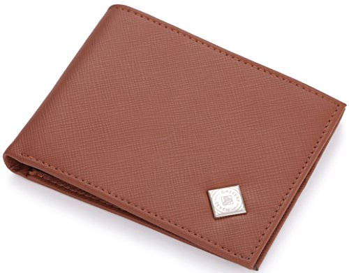 Gallery Seven Wallet For Men Vegan Leather, Bifold RFID Blocking Wallet, Enclosed In An Elegant Gift Box - Tan/Navy - One Size