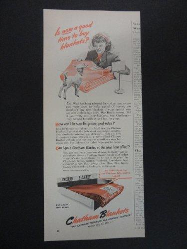 Chatham Blankets. print ad. 5 1/2