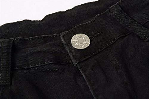 Giovane Hiphop Nero Summer Pantaloni Uomo Snap Moto Streetwear Slim Teens Vintage Tights Strappati Jeans Denim Fit wRv4q0Z