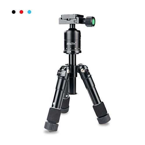 AFAITH Portable Folding Ultra Aluminum alloy Tripod Compact Desktop Macro Mini Tripod Kit with CK-30 Ball Head for Canon Nikon DSLR Camera -Black TM018