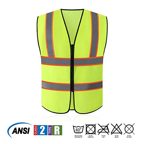 Tekware Safety Vest with High Reflective Strips, Pack of 10 Bright Neon Color Construction Protector with Zipper by Tekware (Image #3)