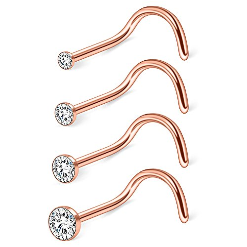 Gold Rose Nose Screw - Ruifan 4PCS 20G 316L Surgical Steel 1.5mm 2mm 2.5mm 3mm Jeweled Clear Round Diamond Cubic Zirconia Crystal Nose Screw Studs Rings Piercing Jewelry - Rose Gold