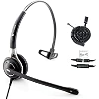 TruVoice Premium Single Ear Ultra Noise Canceling Call Center/Office Headset & Cable For Cisco IP Phones 7931G 7940 7941 7942 7945 7960 7961 7962 7965 7970 and M12, M22 Amplifiers