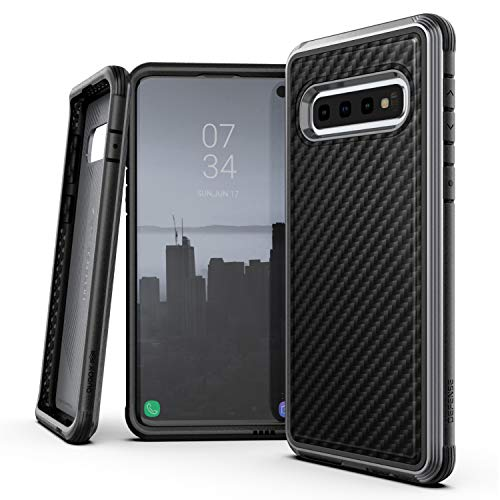 Galaxy Fiber Carbon - X-Doria Defense Lux Series, Samsung Galaxy S10 Plus Phone Case - Military Grade Drop Tested, Anodized Aluminum, TPU, and Polycarbonate Protective Case for Samsung Galaxy S10 Plus (Black Carbon Fiber)
