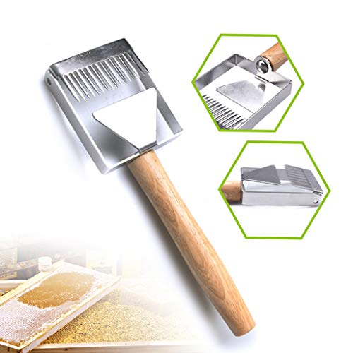 NszzJixo9 Honey Uncapping Tool - Stainless Steel Bee Hive Uncapping Honey Fork Scraper Shovel Beekeeping Tool, Stainless Steel Uncapping Fork Wooden Handle