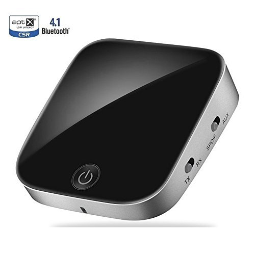 Price comparison product image Bluetooth V4.1 Transmitter and Receiver, TopOne 2 in 1 Wireless Audio Adapter with Optical Low Latency 2 Devices Pair At Once For Home or Car Sound System