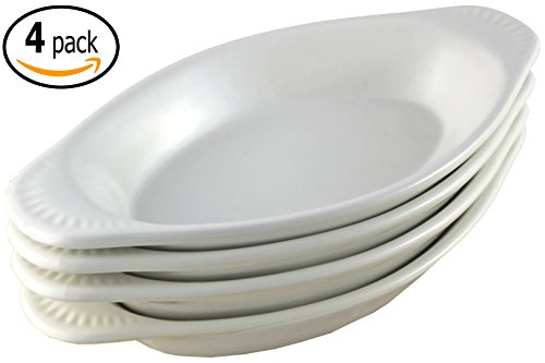 ITI Ceramic Oval Rarebit / Au Gratin Baking Dish with Pan Scraper, Set of 4 (15 Ounce, Pure White)