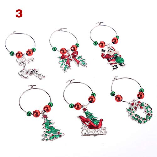 howardee Wine Glass Charms Set Christmas Cup Rings Kit Xmas Drink Markers Tags Party Favors Pendant