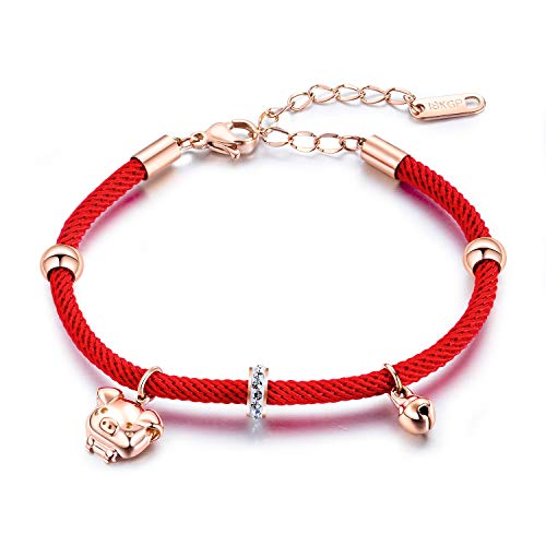 (MONIYA Chinese Zodiac Sign Pig Charm Bracelet for Women Cubic Zirconia Red Rope Good Luck Symbol Jewelry)