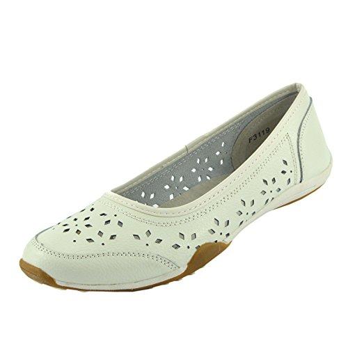 en Cuir Femmes 2 Marche Confortables Ballerine Plates Chaussures Blanc de gwqS5q