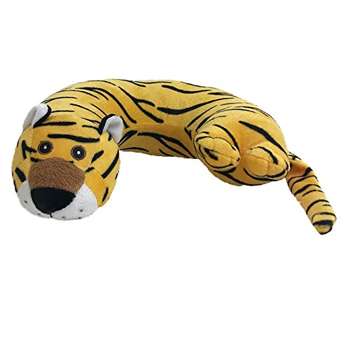Critter Piller Kid's Travel Buddy and Comfort Pillow, Yellow Tiger, Hypoallergenic, Machine Washable, Recycled Filling