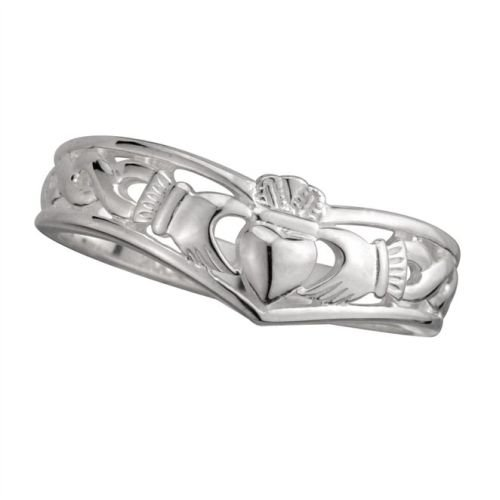 Sterling Silver Ladies Irish Claddagh Wishbone Ring : US-6/UK-L