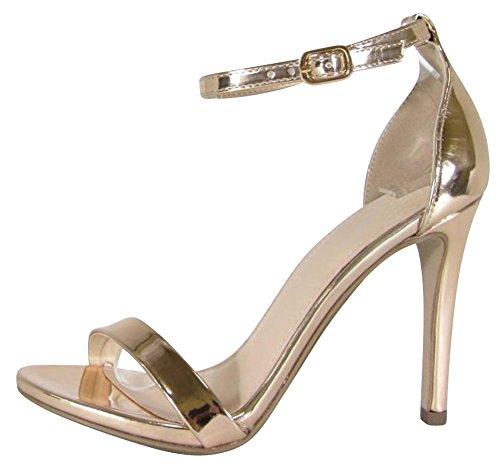Cambridge Selezionare Donna Open Toe Single Band Fibbia Alla Caviglia Con Cinturino Stiletto Tacco Alto Sandalo Oro Rosa Patent