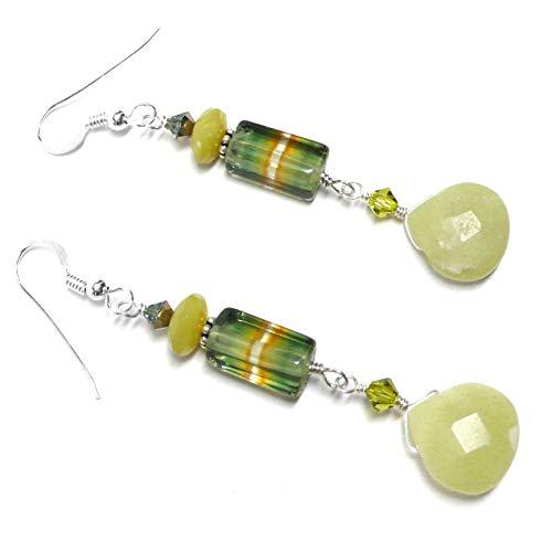 12 Vintage Swarovski Art - Vintage Green Ombre Glass Lemon Serpentine Briolette Sterling Silver Earrings