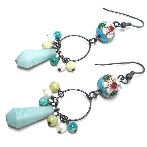Amazonite Teardrop Chinese Cloisonne Enamel Sterling Silver Dangle Pierced Earrings