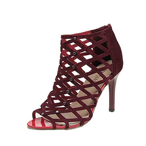 Toamen Zapatos De TacóN Alto Peep Toe De Moda para Mujer Sandalias Romanas De Gladiador Rivet Vino