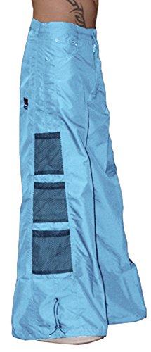 Ghast Unisex Cargo Drawstring Wideleg Mesh Pocket Rave Dance Pants, Light Blue 42 Inch Waist
