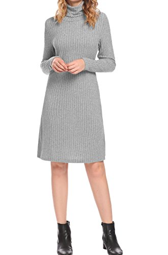 Mofavor Women's Polo Turtle Neck Long Sleeve Stretch Warm Midi Knit Sweater Dress