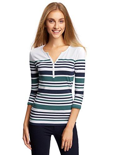 oodji Ultra Women's Striped 3/4 Sleeve Henley T-Shirt, White, UK 10 / EU 40 / M