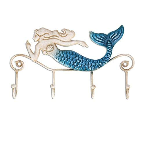 Tooarts Wall Mounted Key Holder Iron Mermaid Wall Decoration 4 Hooks for Coats Towels Bags Wall Mount Clothes Holder Screws Included