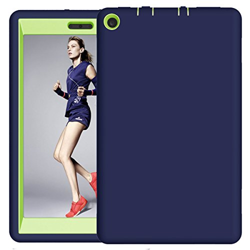 Fire HD 8 2017 Case, Hocase Hybrid Dual Layer Shock Absorbent Silicone Bumper Hard PC Protective Case for All-New Fire HD 8 Tablet (7th Generation, 2017 Release) - Navy Blue/Lime Green (Lime Kindle Fire Case)