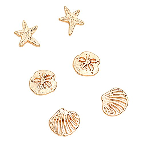 - Rosemarie Collections Women's Beach Stud Earrings Set of 3 Starfish Sand Dollar Shell (Gold Tone)