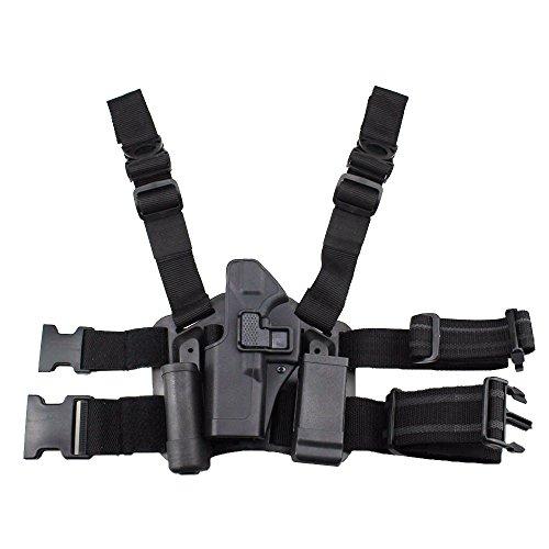 JINJULI Quick Release Tactical Left Hand Leg Belt Drop Leg Holster Pouches for Glock (Left Handed Leg Holster)