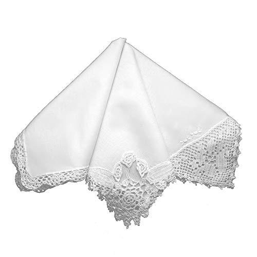 (White Crochet Lace Wedding Ladies Cotton Handkerchiefs Hankie Hanky- Set of 3)