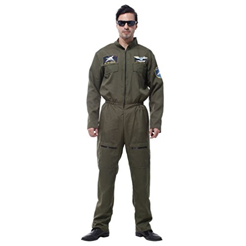 Adult Military Fighter Pilot Jumpsuit Costume M