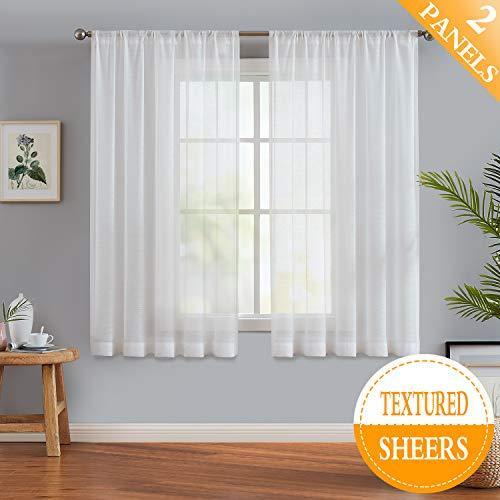 Slub White Semi-Sheer Curtain Panels for Bedroom 63