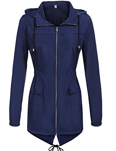 Hount Women's Lightweight Active Outdoor Waterproof Raincoat Hooded Rain Jacket (Navy Blue, (Hooded Waterproof Suit)