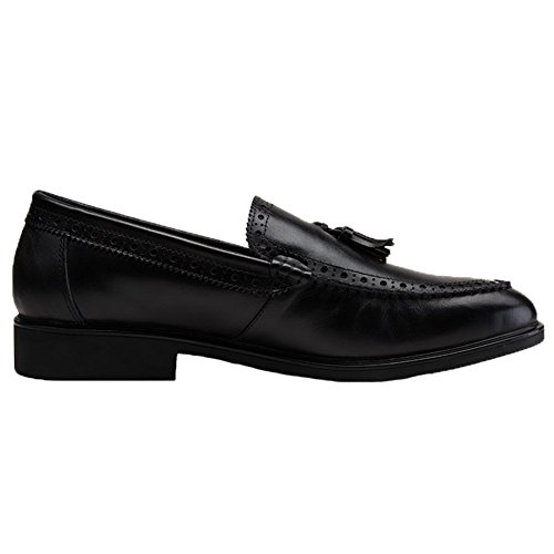 Santimon Mens Mocassins Cuir Gland Slip-on Richelieus Robe Chaussures Noir