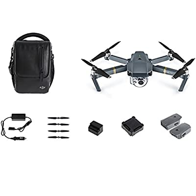 DJI Mavic Pro Fly More Combo: Foldable Propeller Quadcopter Drone Kit with Remote, 3 Batteries, 16GB MicroSD, Charging Hub, Car Charger, Power Bank Adapter, Shoulder Bag: Camera & Photo