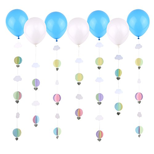 Price comparison product image Simla Decor Colorful 3D Paper Hot Air Balloon And Cloud Garland Comes With Latex Balloon For Kindergarten Baby Shower Children Play Room Nursery Hanging Decoration (8 balloons,  8 strands)