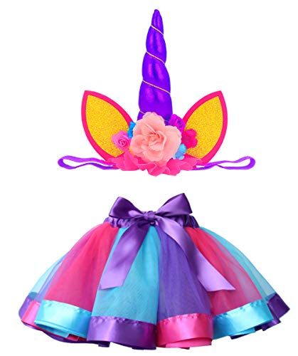 Loveyal Tulle Rainbow Tutu Skirt for Newborn Baby Girls 1st Birthday Photography Outfit Sets with Unicorn Headband. (Royal Blue, S,0-24 Months)]()