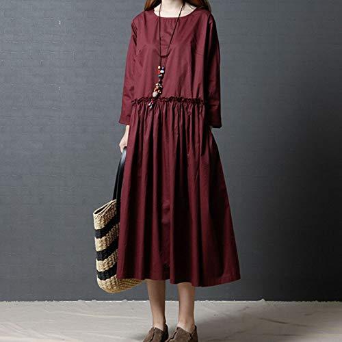 Lin en Taille Vrac Robes Femmes Taille Grande O Longue Et rouge Neck SamMoSon Grande Robe Femme ete Manche Longue Femme Robe Crmonie Coton wUxfTAq