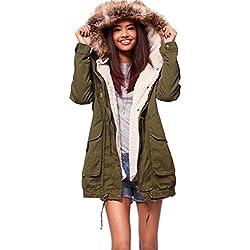 Casual caldo parka donna con cappuccio di pelliccia del Faux Armygreen XXL
