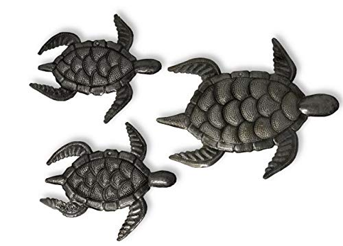 Sea Turtle Decor, Set of 3, Swimming Right, Ocean, Beach, Metal Wall Art, Recycled Steel Haiti Large Turtle 10 x 8, Mini Turtles 6.5 x 7 Inches