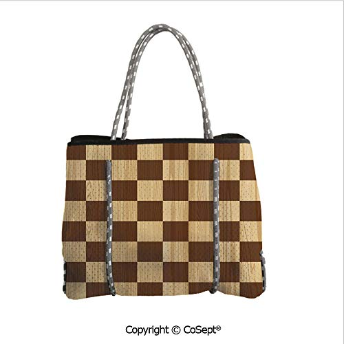 Neoprene Beach Bag,Empty Checkerboard Wooden Seem Mosaic Texture Image Chess Game Hobby Theme,for Beach,Picnic(14.9