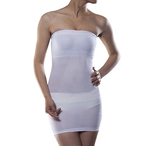 Shymay Women's Full Body Slip Seamless Strapless Shaping Tube Shapewear Dress, White, Tag size 3XL=US size Large