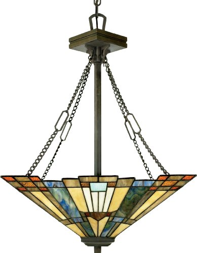 (Quoizel TFIK2817VA Inglenook Tiffany Bowl Pendant Lighting, 3-Light, 300 Watts, Valiant Bronze (26
