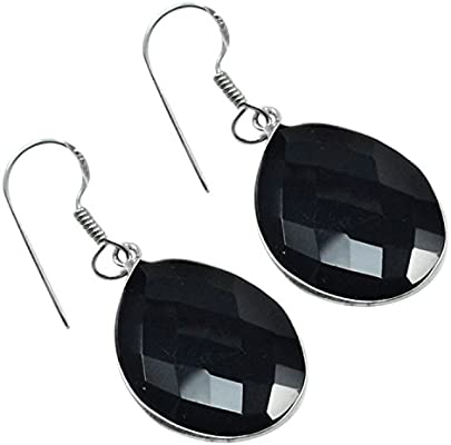 Black Onyx Bazel Setting Handmade Jewelry Manufacturer 925 Sterling Silver Teardrop Dangle Earring Jaipur Rajasthan India