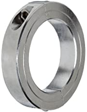 """Climax Metal 2C-150-S T303 Stainless Steel Two-Piece Clamping Collar, 1-1/2"""" Bore Size, 2-3/8"""" OD, with 1/4-28 x 3/4 Set Screw"""