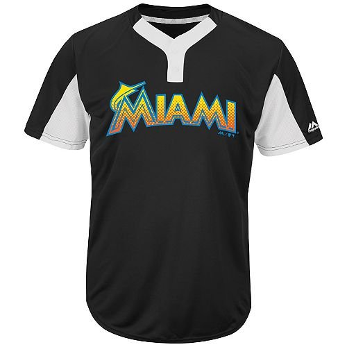 (Blank Back Adult Large Miami Marlins 2-Button Placket Cool-Base MLB Licensed Jersey)