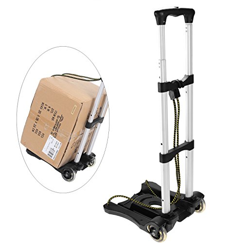 77 lbs Capacity Portable Heavy Duty Folding Hand Truck Luggage Cart with 2 Hooked Rope, Industrial/Travel/Shopping (US STOCK) ()