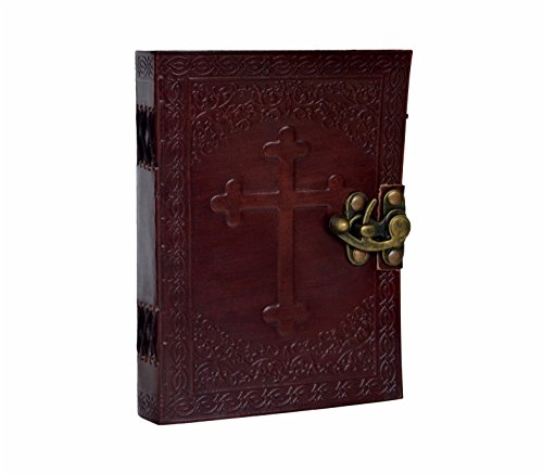 Leather Embossed Celtic Cross Journal - Personal Leather Writing Diary Notepad Notebook