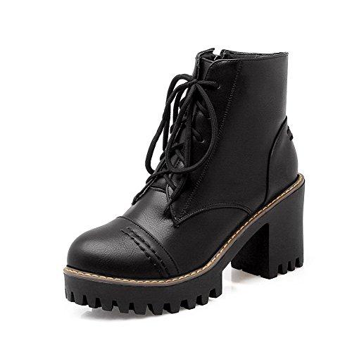 Toe alto Agoolar Round Caña Materiale Women Boots Tacco Baja Morbido Nero Solid R6EqxwIrqa